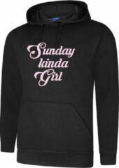 ByKemme Hooded Sweater - met capuchon - Casual Hoodie - Fun Tekst - Lifestyle Hoody - Chill Sweater - Mood - Sunday Kinda Girl - Zwart - XS