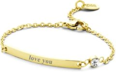 CO88 Collection Inspirational 8CB 90133 Stalen Plaatarmband met Tekst - Love You - Lengte 16 + 3 cm - Goudkleurig