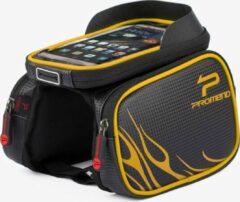 Promed Promend Fietsframetas voor Smartphones met TPU - aanraakscherm - Zwart-Geel