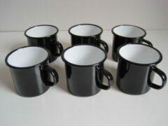 Zevenburgen Emaille mokken zwart - 400 ml - set van 6