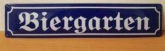 Blauwe Deco Noord Biergarten metalen straatnaambord Reclamebord van metaal METALEN-WANDBORD - MUURPLAAT - VINTAGE - RETRO - HORECA- BORD-WANDDECORATIE -TEKSTBORD - DECORATIEBORD - RECLAMEPLAAT - WANDPLAAT - NOSTALGIE -CAFE- BAR -MANCAVE- KROEG- MAN CAVE