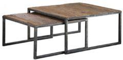 Zaloni Vierkante salontafel Set Korrel - Robuust hardhout