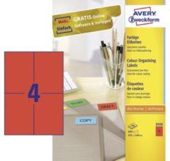 Avery-Zweckform 3456 Etiketten 105 x 48 mm Papier Rood 400 stuks Permanent Universele etiketten Inkt, Laser, Kopie 100 vel DIN A4