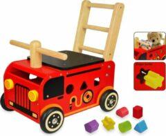 Rode Engelhart Houten loopwagen brandweer met blokken - I'm Toy