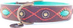 Dwam Halsband Joplin Bruin&Turquoise&Oranje - Hondenhalsband - 57-67x4 cm