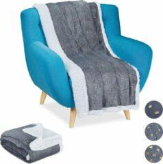 Relaxdays 2 x plaid 150x200 - deken - woonkamer - woondeken - op bank - grijs – punten