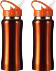 Bellatio Design Set van 2x stuks drinkfles/waterfles 600 ml metallic oranje van RVS - Sport bidon waterflessen