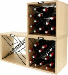 Bruine Compactor Wijnrekken Voor 12 Flessen 36 X 30 X 36,5 3 Stuks