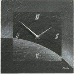 Zwarte AMS Wandklok Leisteen 9518