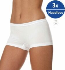 Brubeck Dames Ondergoed Boxershorts - Naadloos Elastisch Katoen 3-Pack - Wit - L