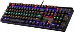 Redragon Mitra Rainbow K551-R | Gaming toetsenbord met verlichting - full size toetsenbord | Spatwater bestendig| Conflictvrije Ergonomische Toetsenbord met nummer pad - USB-connector | Stille Rode switches toetsen