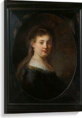 Bruine KuijsFotoprint Canvas - Oude meesters - Vrouw in gefantaseerde kleding, Rembrandt van Rijn - 60x90cm Foto op Canvas Schilderij (Wanddecoratie op Canvas)