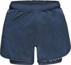 Marineblauwe Re-Born Sports Re-Born 2 Laagse Stretch Short Dames - Navy - Maat L