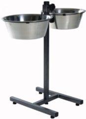 Zilveren Trixie Voerstandaard - Incl. 2 RVS Voer/Waterbakken - 4,5 l/28 cm