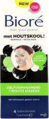 6x Bioré Houtskool Zelfverwarmend 1 minute masker 4 stuks