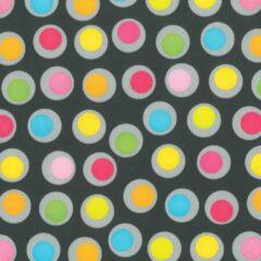 ROTIM Inpakpapier Zwart + multicolour stippen 30cm x 200mtr