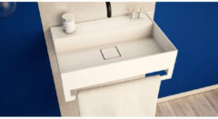Ideavit SolidBliss Wastafel 60x40x20cm 0 kraangaten met handdoekhouder Solid surface mat wit Solidbliss-60TB