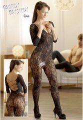 Mandy mystery Line Mandy Mysterie Lingerie – Erotische Catsuit met Bloemen Motief en Vetersluiting voor Perfecte Verleiding – One Size - Zwart