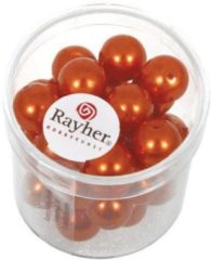 Rayher hobby materialen 35 stuks oranje parel glaskralen 10 mm