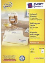 Avery witte etiketten QuickPeel Ft 70 x 36 mm (b x h), 4.800 stuks, 24 per blad, doos van 200 blad