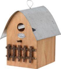 Naturelkleurige Pro Garden Vogelhuisje 20 X 18 X 15,5 Cm Zink/hout Naturel