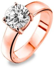 New Bling 9NB-0063-54 - Zilveren ring - zirkonia rond 8 mm - maat 54 - rosékleurig