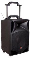 Zwarte JB Systems PPA-101 Portable Speaker - Mobiele Speaker met 2 Draadloze Microfoons en Optionele Batterij