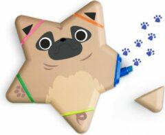 Blauwe Mustard Desktop Markeerstiften - Dog - 5 in 1 - Bruin