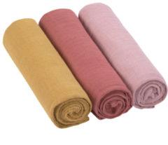 Roze Lässig swaddle & burp doek / hydrofiele luier katoen 3 stuks - rose rosewood mustard L 85x85cm