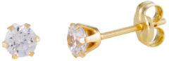 Goudkleurige Glow oorknoppen - rond - geelgoud - zirkonia - 4 mm