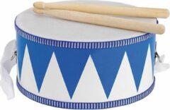 Blauwe Goki houten trommel 21 cm