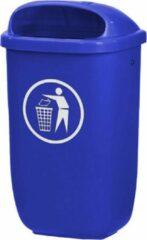 Binqer City buitenafvalbak 50 liter blauw - voor paal en wand