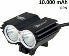 SolarStorm X2 MTB/race LED koplamp 2x CREE T6 LED klein maar EXTREEM veel licht - USB aansluiting - met 10.000mAh LiPo powerbank - Zwart