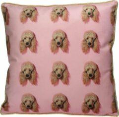 Merkloos / Sans marque Sierkussen Poodle Velvet Roze 45 X 45 cm