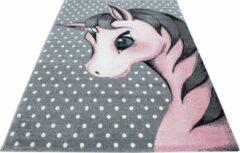 Kids Laagpolig Vloerkleed - Unicorn - Rechthoek - Roze - 80 x 150 cm - Vintage, Patchwork, Scandinavisch & meer stijlen vind je op WoonQ.nl