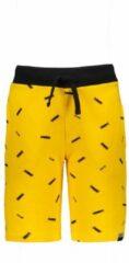 Gele Moodstreet Jongens Short met allover logo bedrukking - Dark Yellow - Maat 134/140
