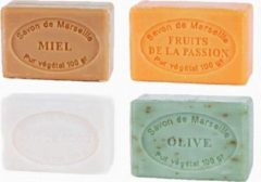 Le Chatelard 1802 Marseille zeep 4 x 100 gram in geuren passievrucht-olijf-kokosmelk-honing