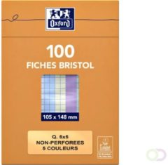 Flashcard Oxford 105x148mm 100vel 210gr ruit 5mm assorti