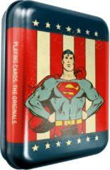 Blauwe Cartamundi speelkaarten in blik DC Comics Superman 56-delig