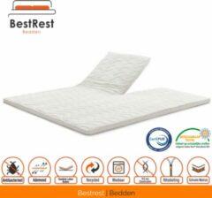 Witte Bestrest Bedden Topdekmatras - Topper met Split - Nasa Visco Platina foam - Traagschuim 7cm - 150x190cm