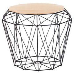 Beliani Elida Bijzettafel Licht houtkleur Hout, Metaal