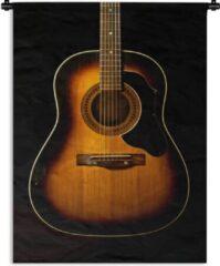 1001Tapestries Wandkleed Akoestische gitaar - Akoestische gitaar op een zwarte achtergrond Wandkleed katoen 120x160 cm - Wandtapijt met foto XXL / Groot formaat!