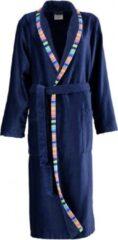 Marineblauwe Cawö korte dames badjas velours met sjaalkraag marine maat 40