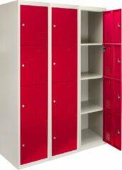Rode MonsterShop 3 x Metal Storage Lockers - Four Doors, Red