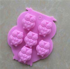BukkitBow - Siliconen Bakvorm 6 Roze Uil mallen- Brownies/Cupcakevorm/cakevorm/ Bak&Pan decoraties