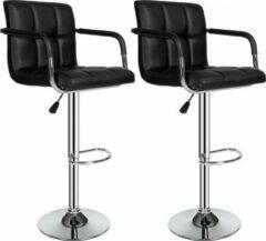 Zilveren TecTake barkruk - Set van 2 barkrukken barstoel tafelkruk kruk, design - 401572