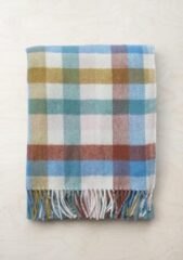 TBCo Prachtig Picknickkleed | Rainbow Check | Duurzaam wol met waterdichte laag | From Scotland