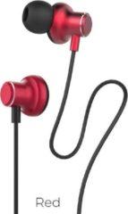 Hoco - in-ear koptelefoon oortjes - Earphones met microfoon en volumebesturing - Rood