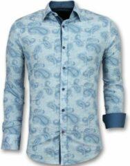 Tony Backer Slim Fit Overhemd Mannen - Bloemen Blouse Heren- 3004 - Turquoise Casual overhemden heren Heren Overhemd Maat L
