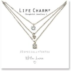 Life Charms Ketting met Giftbox Silver 3 Layer Crystal Cascade